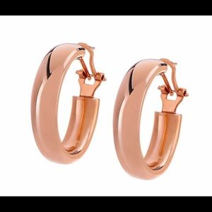 "QVC Bronzo Italia 1.5"" oval hoop earrings"